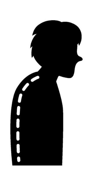 猫背の姿勢になっている男性のイラスト