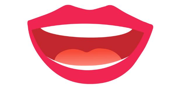ハの字にあけている口のイラスト